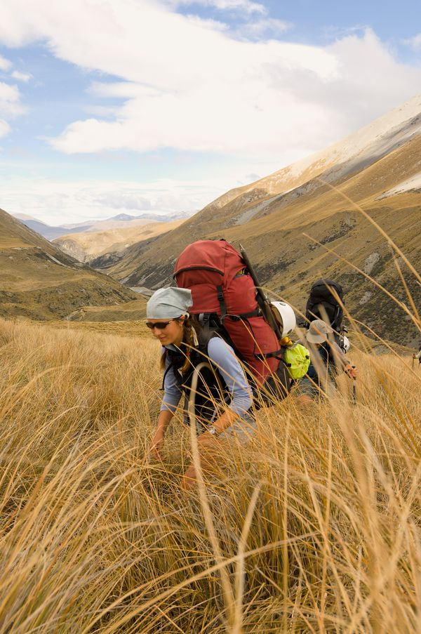 Students hiking uphill through tall grass on New Zealand's South Island.